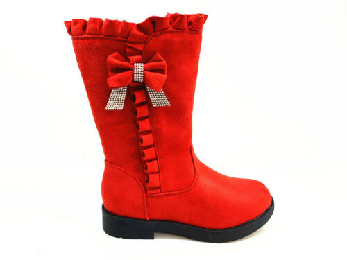 Girls Baby Infant Children Winter Mid Calf Zip Fur Trim Bow Casual Party Boots