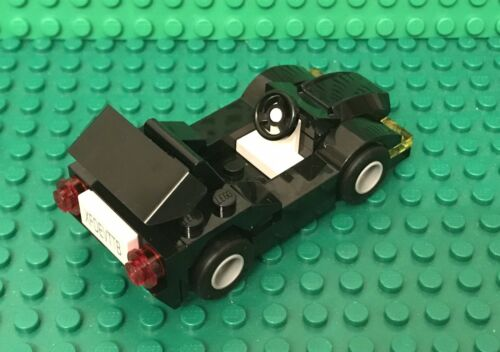 Lego Prebuilt New MOC Black Sports Race Car Vehicle With Spoiler,license Plate