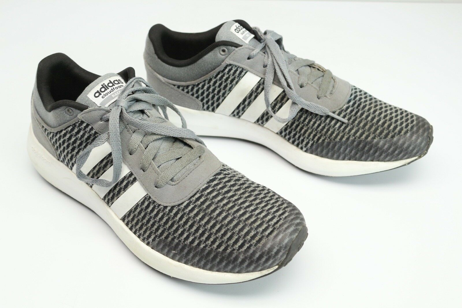 buy popular 28367 3f04f Adidas Adidas Adidas Cloudfoam Race Mens 12 Sneakers Gray Black White  Stripe Running Shoes 53702a ...