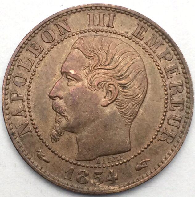 France Napoleon III 5 centimes 1854 A bronze #1101