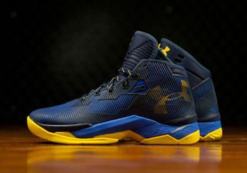 e6a3b8717493 Under Armour Curry 2.5 Basketball Shoes BLUE YELLOW GOLDEN STATE WARRIOR  Mens 10