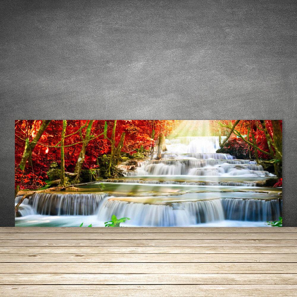 Crédence de cuisine en verre Panneau 125x50 Nature Forêt Chute D'eau