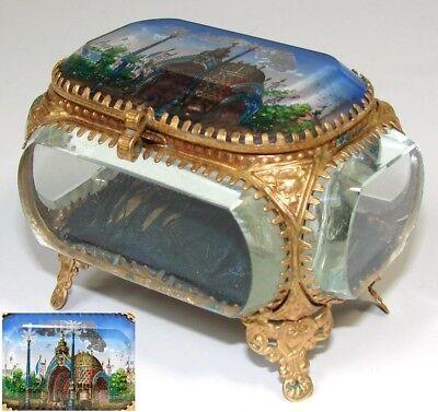 Box Entree Principale Expo 1900 Convenient To Cook Loyal Antique French Eglomise Paris Souvenir Casket
