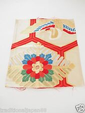 "Vintage Japanese Kimono Silk OBI FABRIC Craft Material 12.9"" x 12"" Crane F2582"