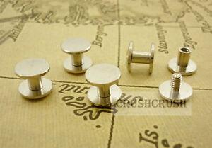 10sets-5-32-034-4mm-Chicago-Screw-Button-Stud-Screwback-Made-of-Brass-Nickel-Y019