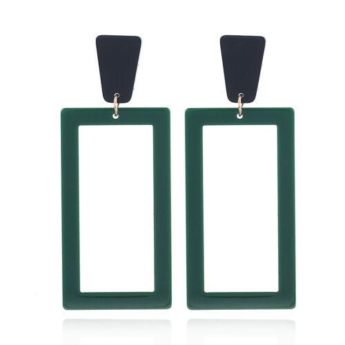 Women Geometric Acrylic Long Drop Dangle Earrings Statement Jewelry Gift