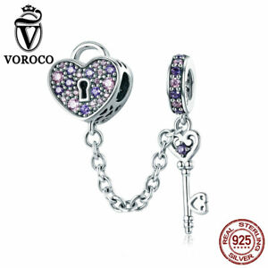 VOROCO-Sterling-Silver-Key-And-Heart-Locket-Charms-Fit-European-Charm-Bracelet