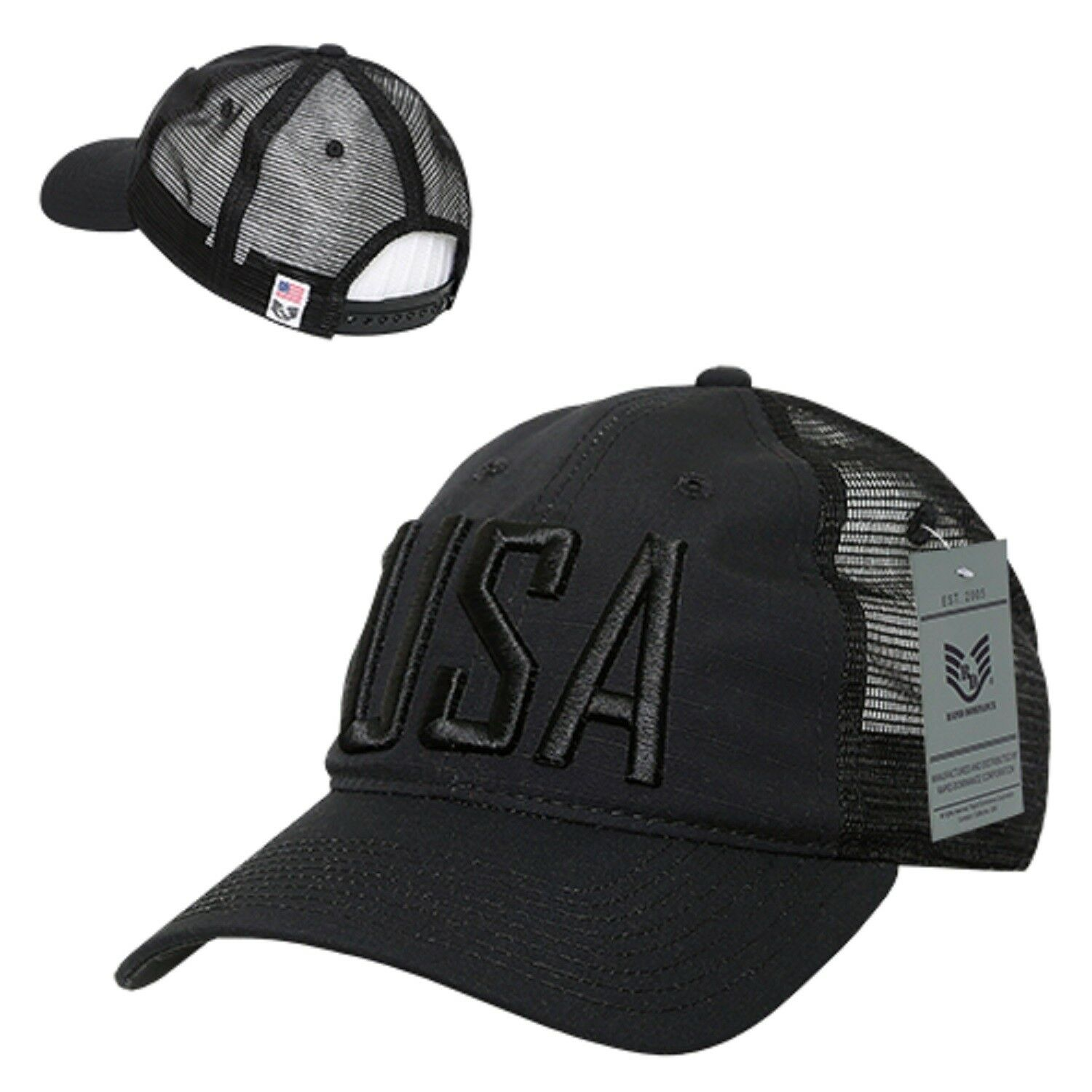 7ddd93c239e Details about Black USA US United States of America Ripstop Mesh Trucker  Flag Baseball Hat Cap