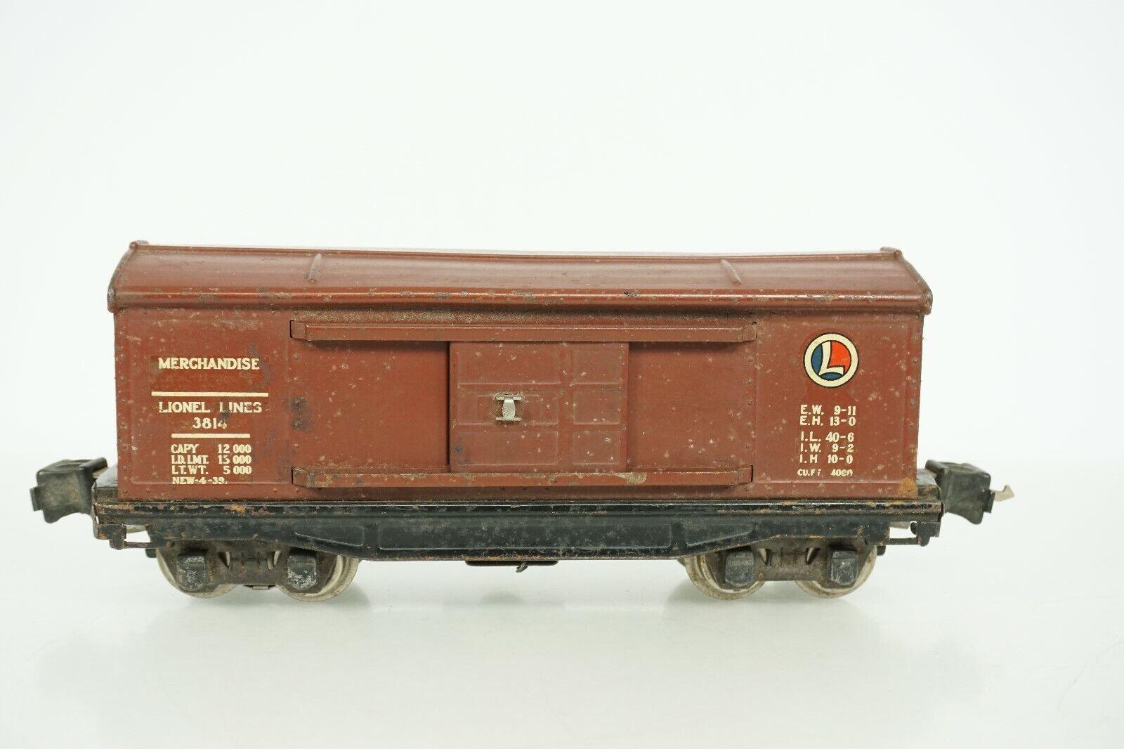 Raro líneas de Lionel o escala preguerra mercancía de funcionamiento 3814 coche de caja