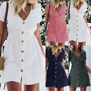 Damen-Sommer-Kurzarm-Strandkleid-Minikleid-Unifarben-Freizeitkleid-Hemdkleid-Top