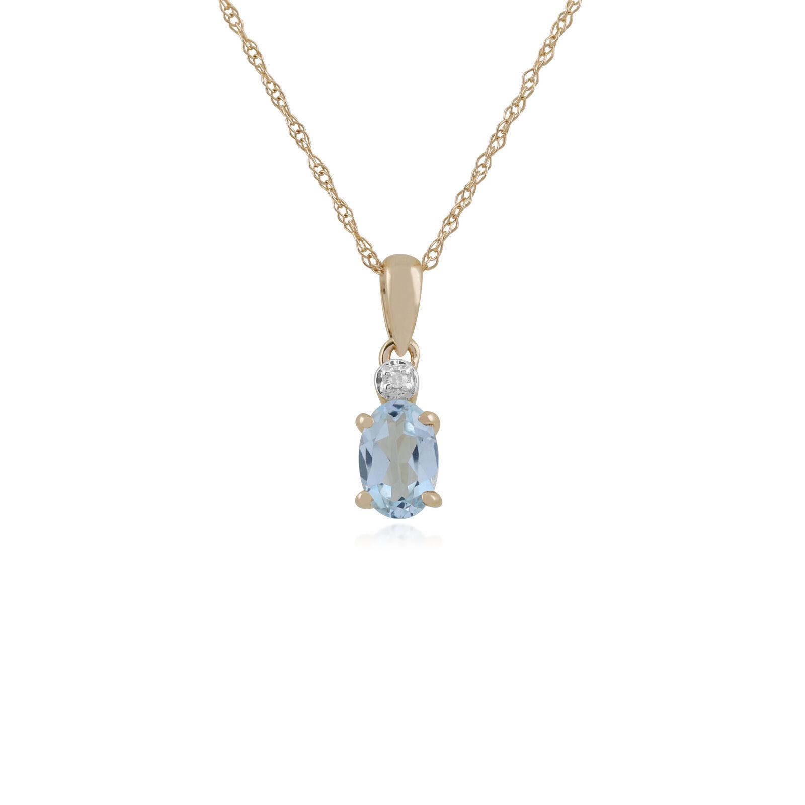Gemondo 9ct or yellow 0,39 CT Aigue-Marine & Diamant Pendentif Ovale sur 45cm