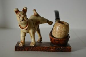 Comoy-039-s-of-London-Vintage-Pipe-Stand-Holder-Peeing-Dog-Made-in-Italy-With-Pipe