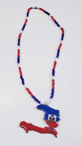 HAITI FLAG MAP SHAPED  NECKLACES