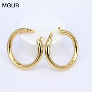 Gold-color-circle-creole-earrings-Stainless-Steel-Big-Round-wives-Hoop-Earring