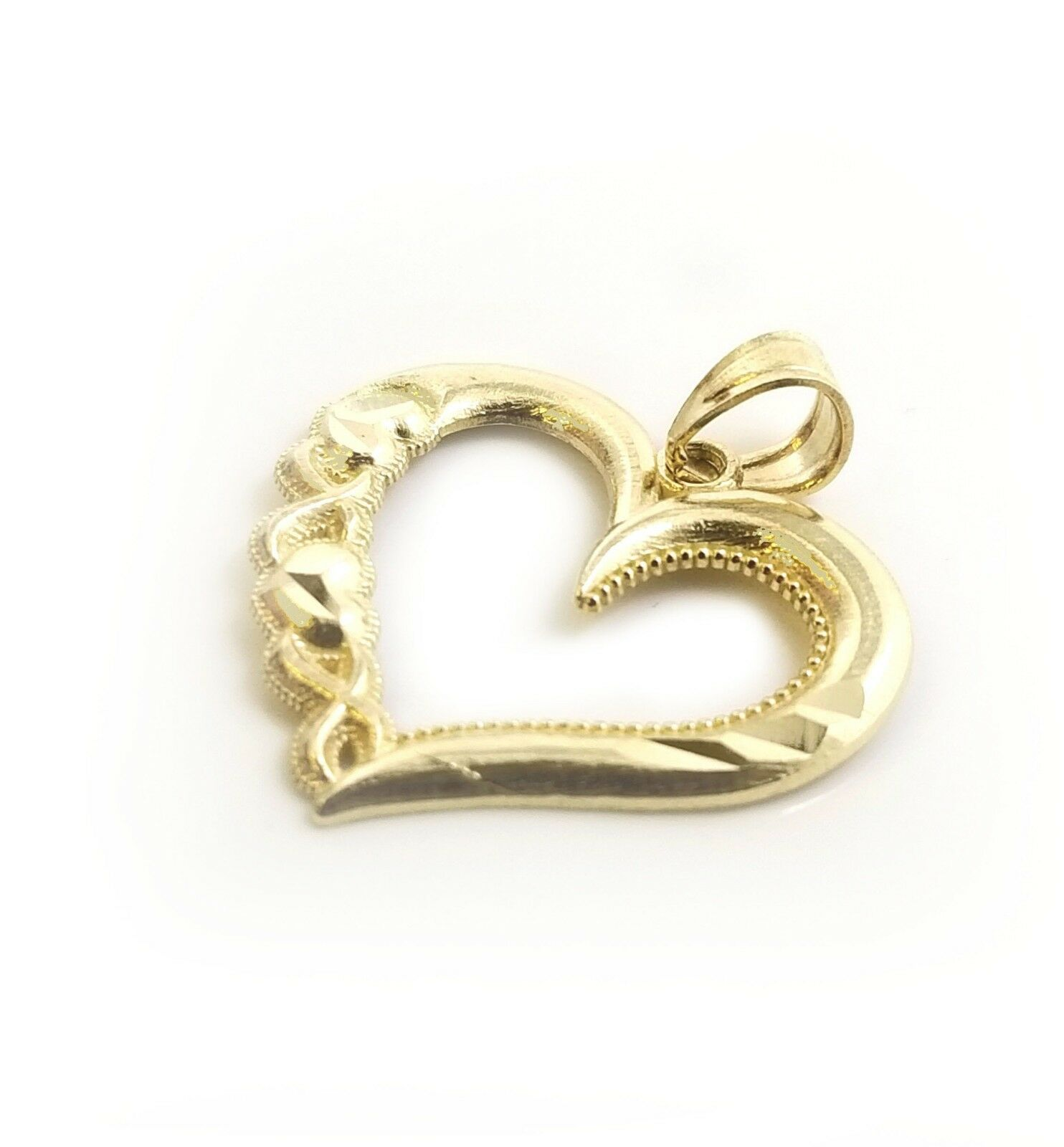 Real 10k Yellow gold Singapore Chain & 10k Yellow gold Heart Charm