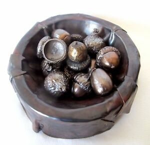 Lost-Wax-Cast-Bronze-034-Acorns-in-Copper-Bowl-034-Decorative-Sculpture-Fine-Art