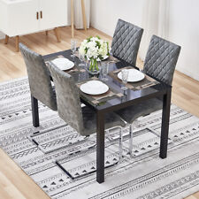 Black Glass Table And 4 Grey Leather Dining Chairs Chrome Leg Kitchen Room Set