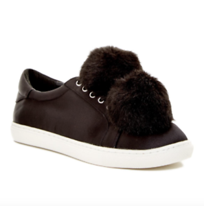 J/Slides Cash Women's Black Satin Faux Fur Fur Faux Sneaker Sz 8 6639 ba476f