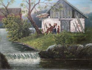 Cuadros-oleos-aire-libre-pintor-con-mi-mujer-y-mis-hijos-en-la-orilla-de-un-rio-40-5-x-30-5