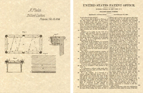 pool 1856 Cushion bumper US PATENT of BILLIARD TABLE Art Print READY TO FRAME!