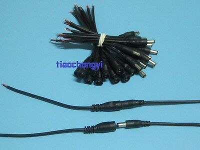 2-50pcs 5.5X2.1mm DC Power Female Male Connector Cable Pigtail Plug Wire CCTV