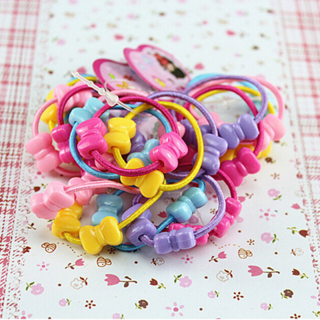 50 Pcs Assorted Elastic Rubber Hair Rope Band Ponytail Holder for Kids Girl LEO