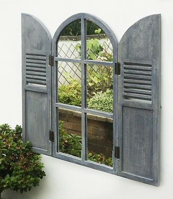 Arched Garden Glass Mirror Wooden Shutters Outdoor Illusion Window Antique Grey