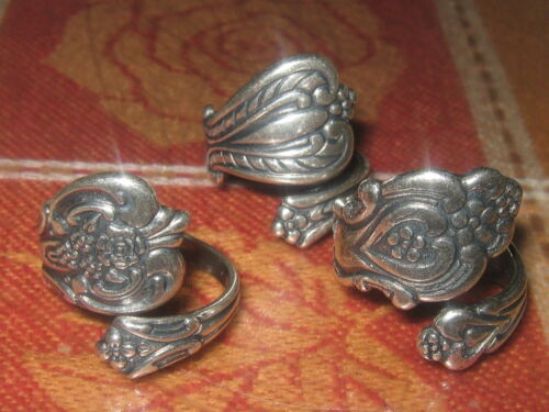 WHOLESALE 3 VINTAGE STYLE ADJUSTABLE SILVER SPOON RINGS SIZES 5,6,7,8,9,10