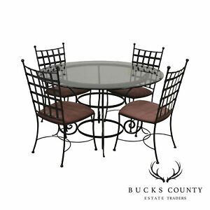Charleston Forge Etrusche Iron Round Glass Top Dining Table 4 Chairs Set Ebay