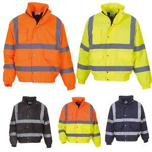 High Visibility Bomber Jacket Orange Yellow ALL SIZES