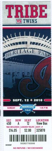 4,000th win for Twins/' Franchise//Kevin Slowey win 2010 Indians vs Twins Ticket