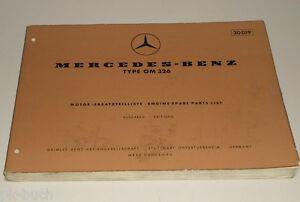 Details about Parts Catalog Mercedes Benz Diesel Motor Type Om 326 -  Edition D - Stand 07/1960