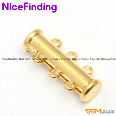 10x21mm Tube Yellow Gold Plated Clasp 3 Strands Jewelry Making Design Findings