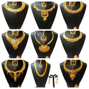 22K-Necklace-Gold-Plated-Indian-Fshion-Expensive-Looking-Necklace-Earrings-Set