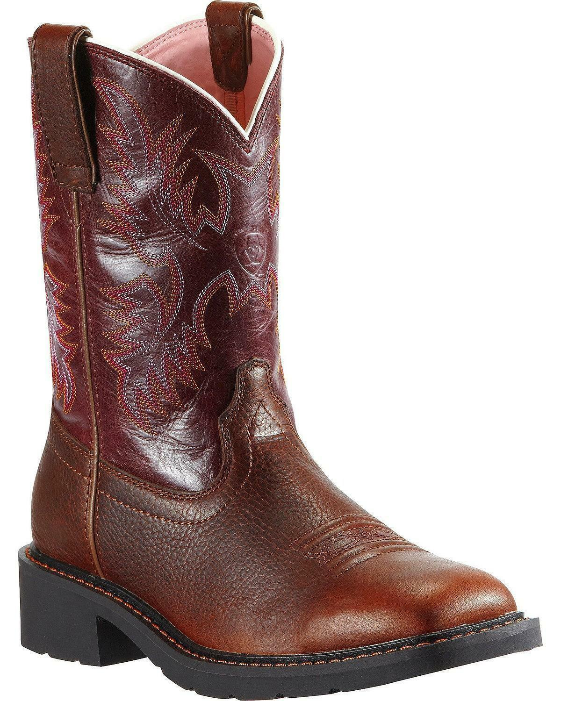 NEW *Ariat Krista Pull-On Work Boot - Steel Toe - 10009494 * Dark Tan/Fig * Sz 6