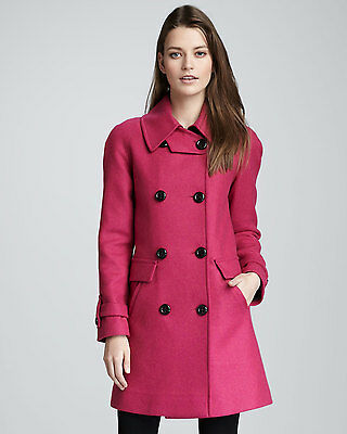 $595 TRINA TURK Leather Trim Charlotte Wool Coat Pink Raspberry Jacket M- 8