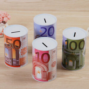 Euro-Sparschwein-Wei-blech-Geld-Dose-Sparen-Box-Schachtel-Lagerung-Geld-Bank