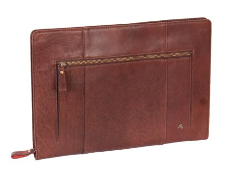 Real Leather A4 Document Folio Case Cover Tablet File Wallet Sleeve Bag Brown