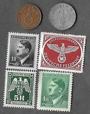 Rare Very Old Antique WWII Nazi Germany Swastika Coin Stamp Collection War Lot