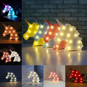 Cute Unicorn Head LED Table Lamp Night Light Children Gifts Room Light j-c CA