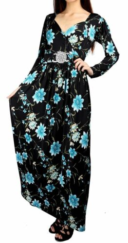 Womens Ladies Floral Silver Buckle Belted Front Back Tie Knot Twisted Maxi Dress