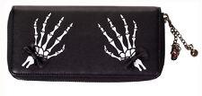 Banned Elegant Gothic Punk Skeleton Hand Faux Leather Wallet Purse Black White
