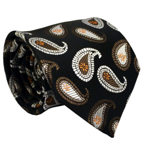 NT131 Men Tie Black Brown Paisley Wedding Office Business Party Formal Necktie