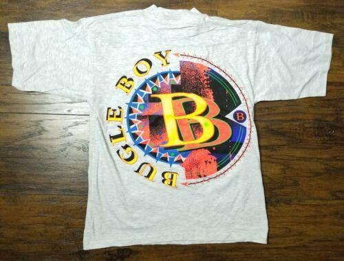 Vintage BUGLE BOY T Shirt 1990s Neon Skate Kids M Heather Gray Single Stitch