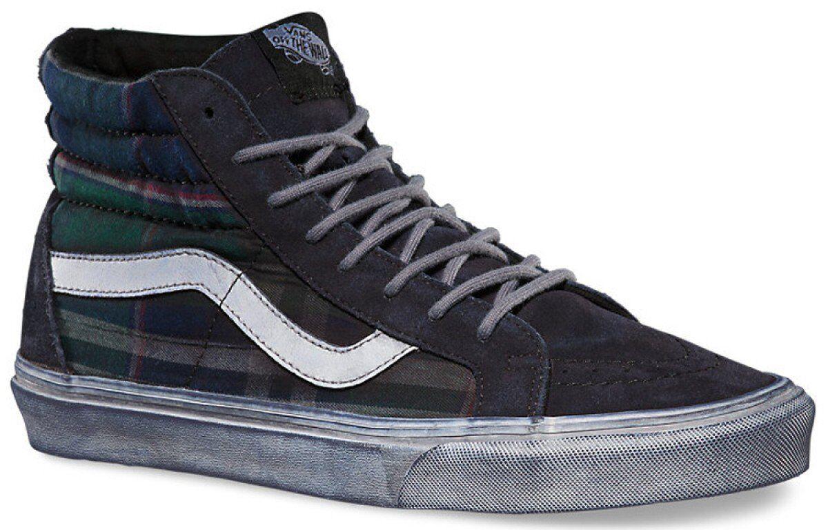 Vans Sk8 Hi Reissue CA Overwashed Plaid Nine Iron white de white Mens 9 shoes