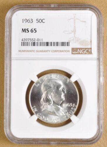 1963 P Franklin Silver Half Dollar NGC MS65