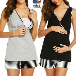 2PCS-Women-Pregnancy-V-Neck-Sleeveless-Top-Shirt-Nursing-Vest-Striped-Shorts-Set