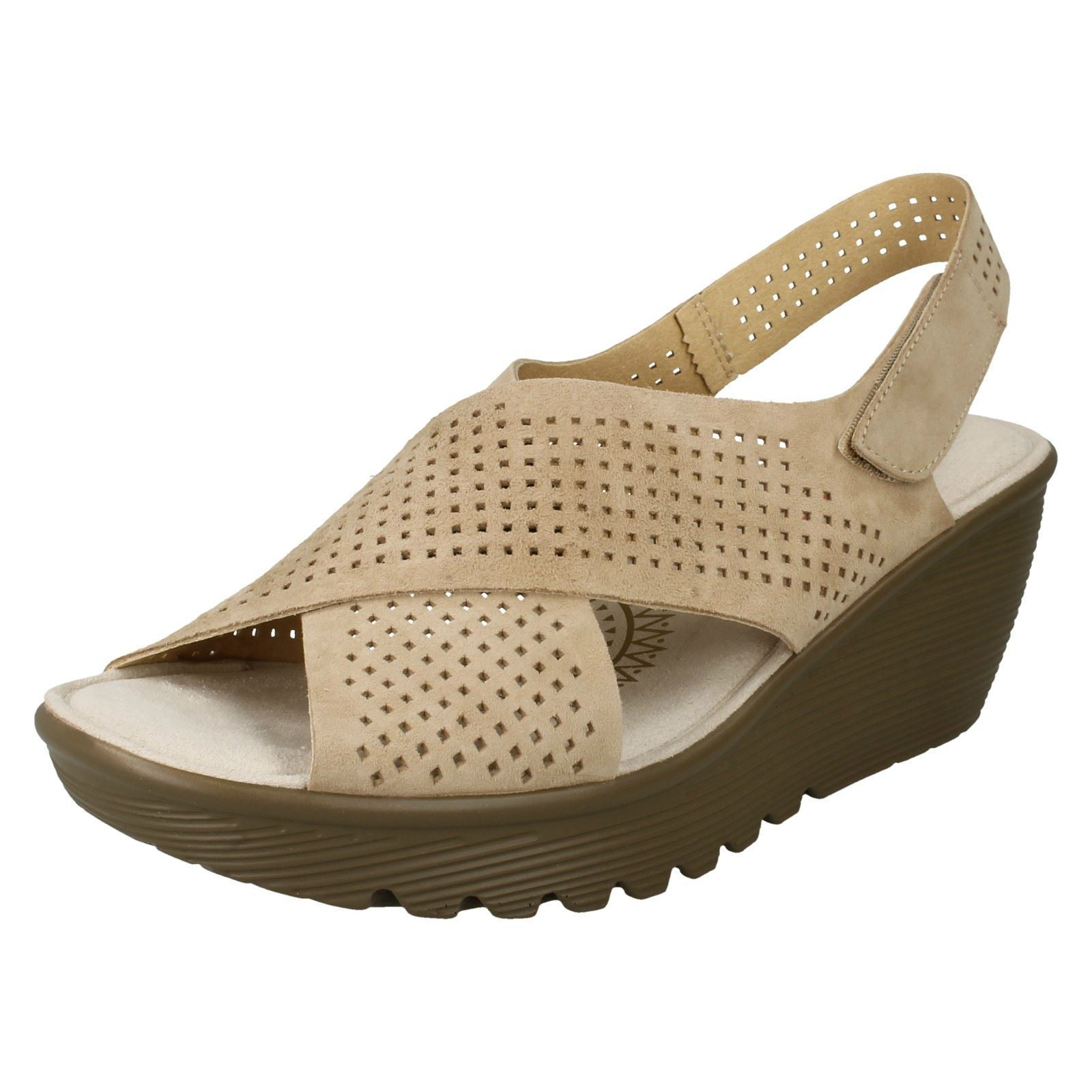 Ladies Skechers 48861 Parallel-Infrastructure Suede Leather Wedge Sandals