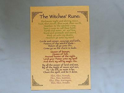 NEW Pagan Poster/THE WITCHES' RUNE/A4/Wicca/Pagan/Witch