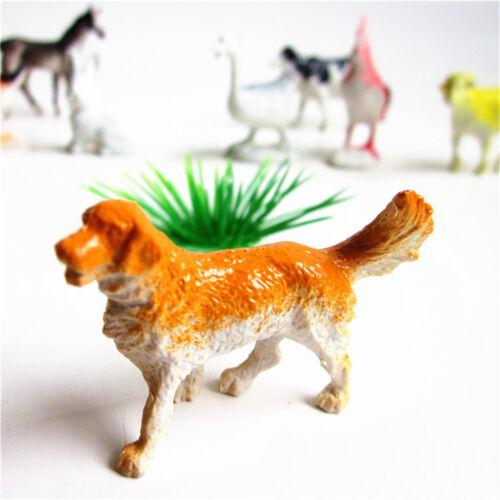 8x Farm Animals Models Figure Set Toy Plastic Simulation Horse Dog Kid Gift LU